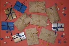 Many packaged gifts lie Royalty Free Stock Images