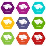 Many packages icons set 9 vector. Many packages icons 9 set coloful isolated on white for web Royalty Free Stock Photo