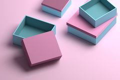 Many packaging boxes in blue and pink colors for mock up or presentation. 3d illustration royalty free illustration