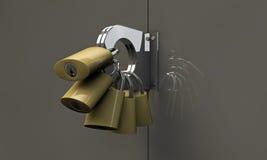 Many padlocks. On a metal door Royalty Free Stock Photography