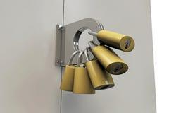 Many padlocks. On a metal door Stock Photography