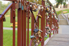 Many padlocks on the bridge in Grodno, Belarus Royalty Free Stock Photo