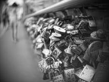 Padlocks on the bridge. Many padlocks on Tumski bridge in Wroclaw, Poland. Every padlock sign real love stock images