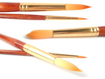 Many paint brushes on white Royalty Free Stock Photo