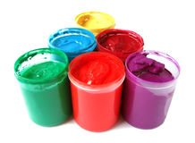 Many Paint Jars With Gouache Stock Photography