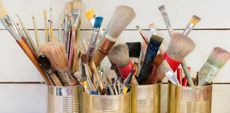 Many paintbrush in workshop artist Royalty Free Stock Image