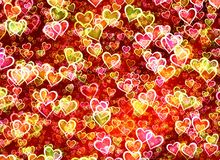 Many painted red hearts backgrounds. Many painted red glowing hearts background Stock Photo