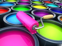 Many paints and colours. 3d illustration Royalty Free Stock Images