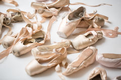 Many pairs of ballet shoes Royalty Free Stock Photography