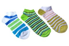 Many Pairs Colorful Striped Socks Isolated On White Stock Photo