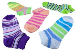 Many Pairs Colorful Striped Socks Isolated On White. Many Pairs of Colorful Striped Socks Isolated On White Background Royalty Free Stock Photo