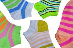 Many Pairs Colorful Striped Socks Isolated On White. Many Pairs of Colorful Striped Socks Isolated On White Background Royalty Free Stock Photos