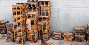 Many pallets stacked Royalty Free Stock Images