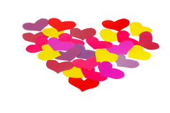 Many paper colored heart shapes Stock Photo
