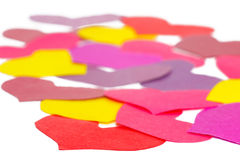 Many paper colored heart shapes Stock Image