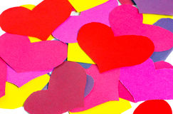 Many paper colored heart shapes Stock Photography