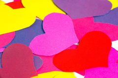 Many paper colored heart shapes Stock Photos