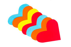 Many paper colored heart shapes Royalty Free Stock Image