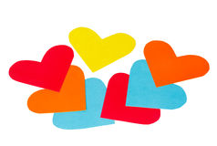 Many paper colored heart shapes Royalty Free Stock Images