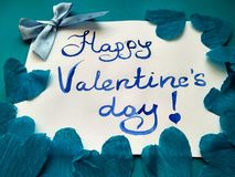 For Valentine`s Day inscription Happy Valentine`s Day and hearts stock photography