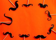 Many Paper mustaches on booth props party Stock Photography