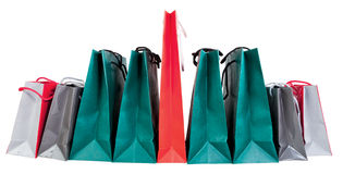 Many paper shopping bags. Isolated on white backgrounds Royalty Free Stock Photos