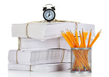 Many papers and pencils Royalty Free Stock Image