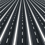 Many parallel roads towards infinity Royalty Free Stock Photos