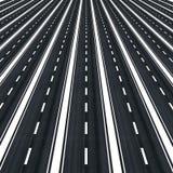 Many parallel roads towards infinity Royalty Free Stock Photos