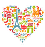 Many Paris France Icons Landmarks and attractions. In a heart shape Royalty Free Stock Photo