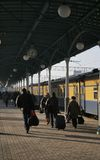 Many passengers. On station beside train Royalty Free Stock Photography