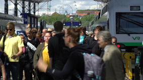 Many passengers and trains at the railway station in Helsinki, Finland. Time Lapse. stock video