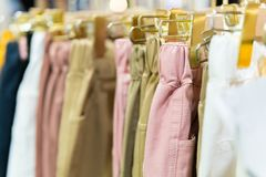 Many pastel trousers royalty free stock photo
