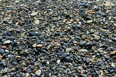Many pattern and textured of small black gravel and white pebble. On the tropical beach Stock Images