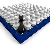 Many pawns defeated king Royalty Free Stock Image