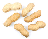 Many peanuts in shells, one upon the other Royalty Free Stock Image