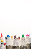 Many pencil crayons on white royalty free stock image