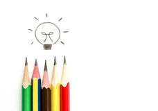 Many pencil drawing light bulb, idea and teamwork conce Royalty Free Stock Photography