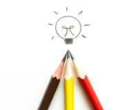 Many pencil drawing light bulb on white Stock Photos