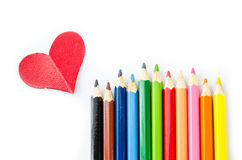 Many pencils color and red heart Royalty Free Stock Image