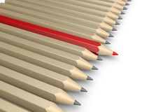 Many pencils and one more forward as the leader. Many 3d pencils aligned next to each other but one is more forward Stock Images