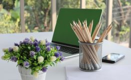 Many pencils put in the pencil holder royalty free stock photo
