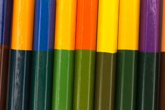 Many pencils in rainbow color. crayons. texture. background.  Stock Photography