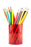 Many pencils in red cup Royalty Free Stock Photo
