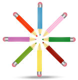 Many pencils  are on a white background Royalty Free Stock Photography