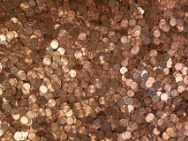 Many Pennies. Large pile of shinny American Lincoln pennies Stock Photos