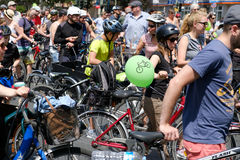 Many people on bicycles on a bicycle demonstration Sternfahrt Stock Photography