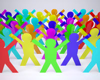Many people cartoon silhouette colored Royalty Free Stock Image