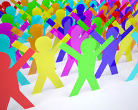 Many people cartoon silhouette colored Stock Photography