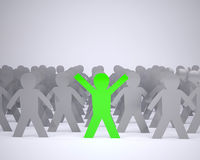 Many people cartoon silhouette grey and one green Stock Photography